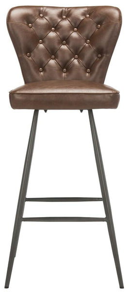 "Safavieh Aster 30""H Mid Century Modern Leather Tufted Bar Stool FOX1703A-SET2"