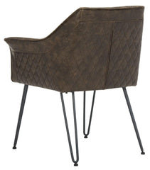 Safavieh Esme 19''H Mid Century Modern Leather Dining Chair FOX1705B-SET2
