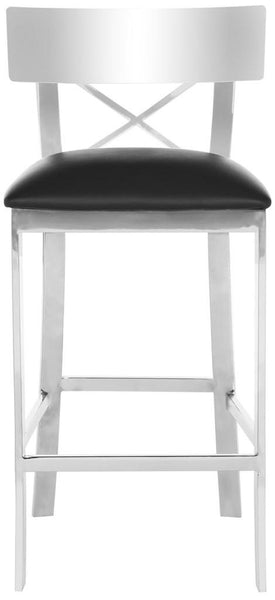 Safavieh Zoey 35''H Stainless Steel Cross Back Counter Stool FOX2035A