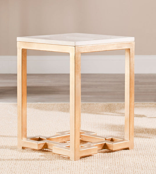 Safavieh Ray Marble Top Gold Accent Table FOX2502A