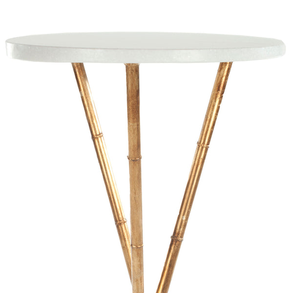 Safavieh Roger Gold Base Round Top Accent Table FOX2515A
