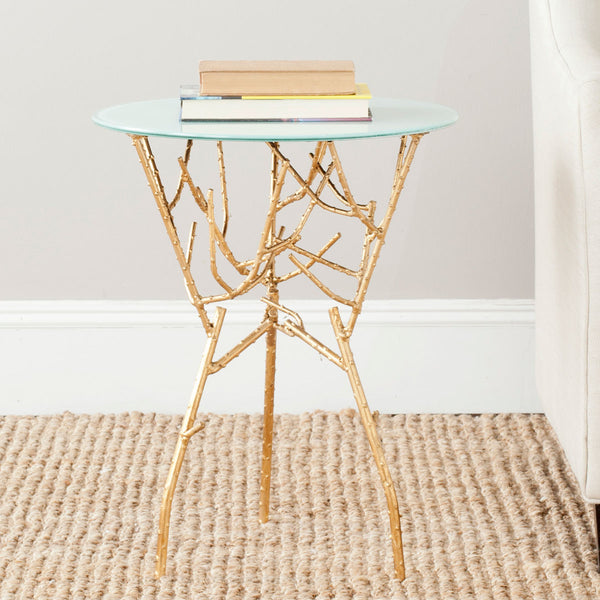 Safavieh Tara Branched Glass Top Gold Accent Table FOX2520A