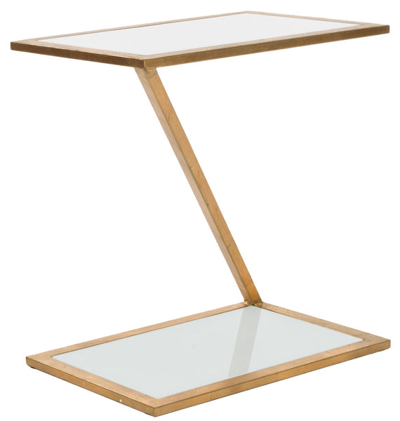 Safavieh Andrea Glass Top Gold Accent Table FOX2521B