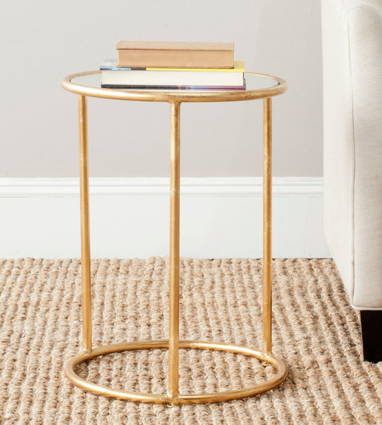 Safavieh Shay Glass Top Gold Leaf Accent Table FOX2523A