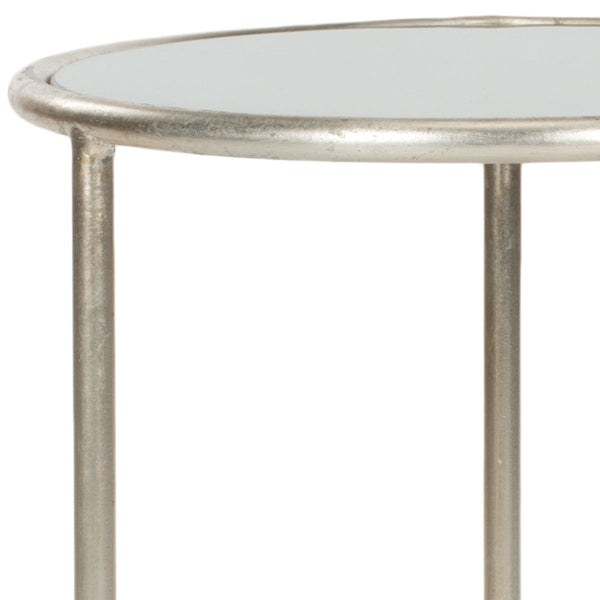 Safavieh Shay Glass Top Silver Accent Table FOX2523C