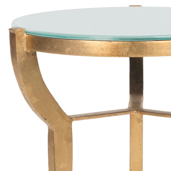 Safavieh Ormond Mirror Top Gold Leaf Accent Table FOX2530A
