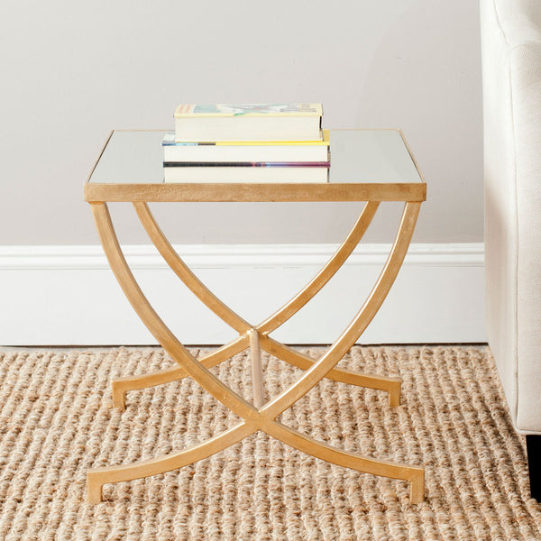 Safavieh Maureen Glass Top Gold Leaf Accent Table FOX2537A