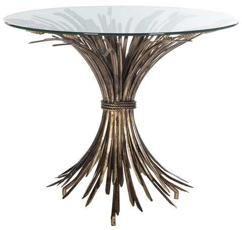 Safavieh Ayris Sheaf Gold Leaf Accent Table FOX2577A