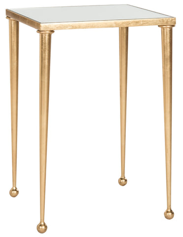 Safavieh Nyacko Mirror Top Gold Leaf End Table FOX2579A