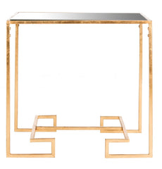 Safavieh Seamus Gold Leaf Greek Key Accent Table FOX2583A