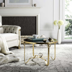Safavieh Elisha Gold Leaf Round Coffee Table - Glass Ball FOX2599A