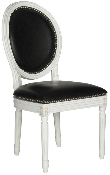 Safavieh Holloway 19''H French Brasserie Leather Oval Side Chair - Silver Nail Heads FOX6228E-SET2