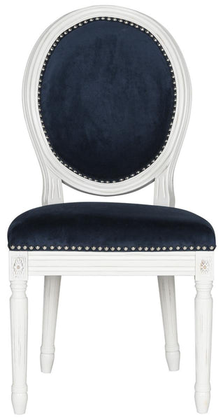 Safavieh Holloway 19''H French Brasserie Velvet Oval Side Chair - Silver Nail Heads FOX6228F-SET2