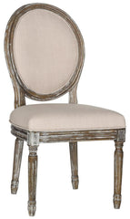 Safavieh Holloway 19''H French Brasserie Linen Oval Side Chair FOX6228G-SET2