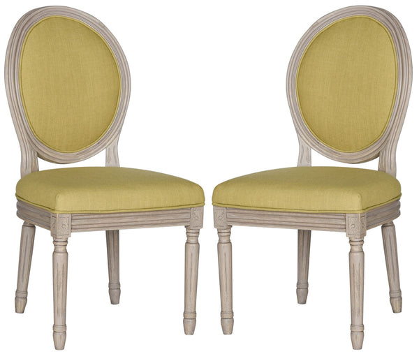 Safavieh Holloway 19''H French Brasserie Linen Oval Side Chair FOX6228J-SET2