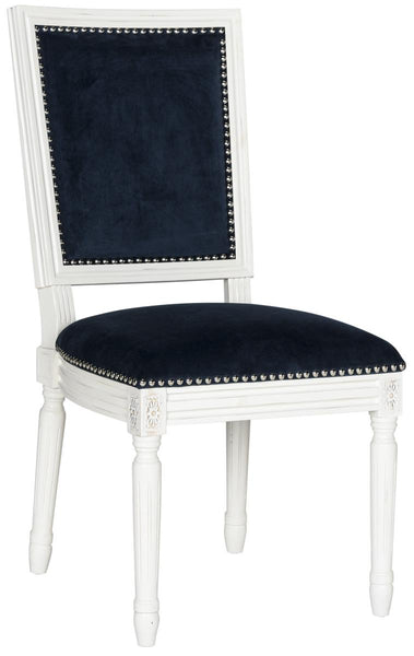 Safavieh Buchanan 19''H French Brasserie Velvet Rect Side Chair - Silver Nail Heads FOX6229F-SET2