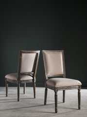 Safavieh Buchanan 19''H French Brasserie Linen Rect Side Chair FOX6229G-SET2