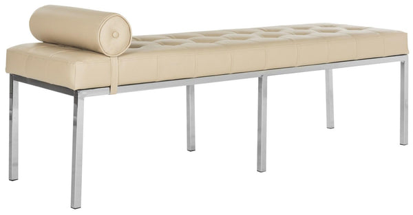 Safavieh Xavier Leather Tufted Bench W/ Pillow FOX6240A