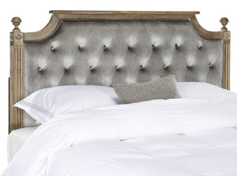 Safavieh Rustic Wood Grey Tufted Velvet Twin Headboard -  Twin FOX6241C-T