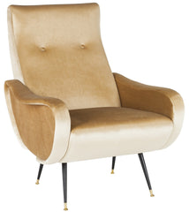 Safavieh Elicia Velvet Retro Mid Century Accent Chair FOX6260B