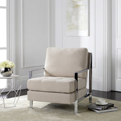 Safavieh Walden Modern Tufted Linen Chrome Accent Chair FOX6279A