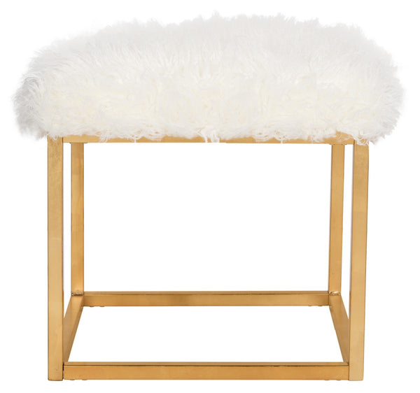 Safavieh Rowan Contemporary Glam Faux Sheepkin Square Ottoman FOX6288C
