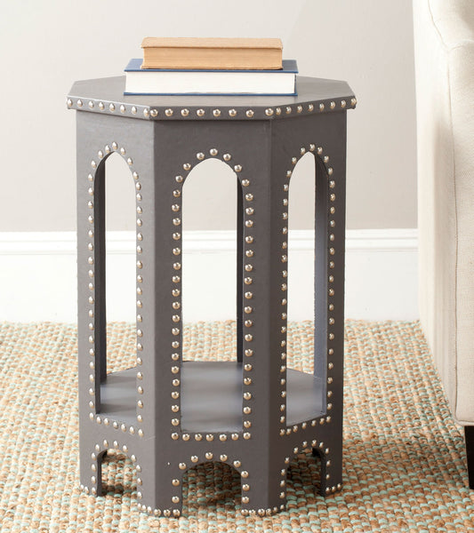 Safavieh Nara End Table Grey - Silver Nail Heads FOX9501A