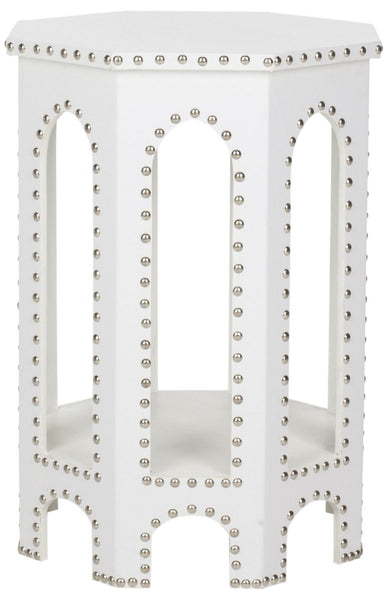 Safavieh Nara End Table White - Silver Nail Heads FOX9501C