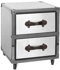 Safavieh Gage Two Drawer Rolling Chest/Black-Silver FOX9509A