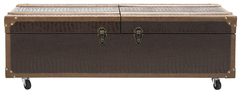 Safavieh Zoe Coffee Table Storage Trunk With Wine Rack FOX9515A