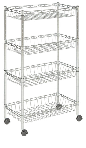 Safavieh Mario 4 Tier Chrome Wire Basket Rack Happimess By Safavieh (23.6 In. W X 13.8 In. D X 47.2 In. H) HAC1002A