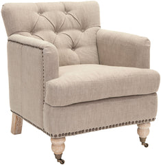 Safavieh Colin Tufted Club Chair W/ Brass Nail Heads HUD8212F
