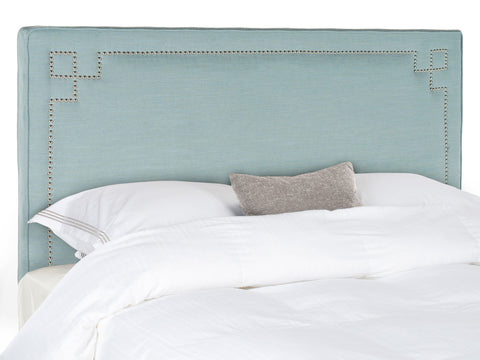 Safavieh Remington Sky Blue  Headboard -Silver Nail Head -  Queen MCR4014B