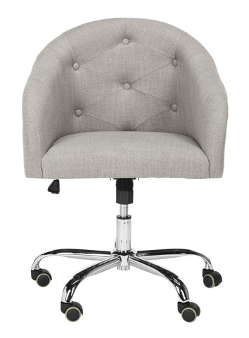 Safavieh Amy Tufted Linen Chrome Leg Swivel Office Chair OCH4500A