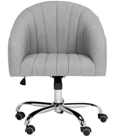 Safavieh Themis Linen Chrome Leg Swivel Office Chair OCH4503A