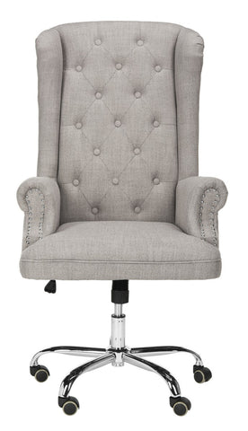 Safavieh Ian Linen Chrome Leg Swivel Office Chair OCH4504A