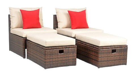 Safavieh Telford Rattan Outdoor Sette And Storage Ottoman With Red Accent Pillows PAT2013A