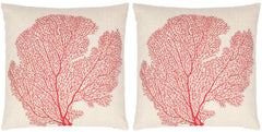 Safavieh Spice-Fan Coral  Pillow -Pil829A-2222-Set2 PIL829A-2222-SET2