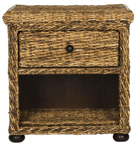 "Safavieh Magi Natural Brown Wicker Nightstand With Drawer And 8""H Storage SEA8001A"