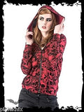 Hooded Top with Red Skull Print JA1-270/13