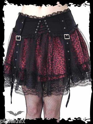 Red Leopard Print Skirt with Straps SK11-059/07