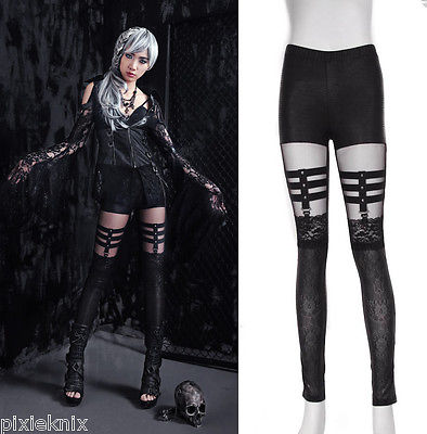 Gothic Cross Suspender Effect Leggings 21238