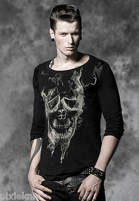 Smoke Skull Men's Long Sleeve T-Shirt T-325