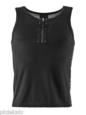 Black Vest with Zip and Side print SH21-132/13