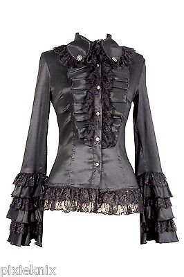 Long Sleeved Frilly Gothic Lolita Blouse C010020A