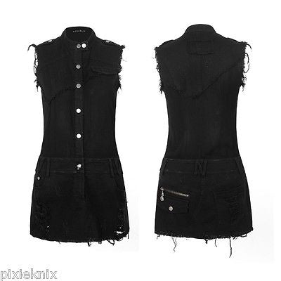 Worn Effect Denim Mini Dress PQ-117