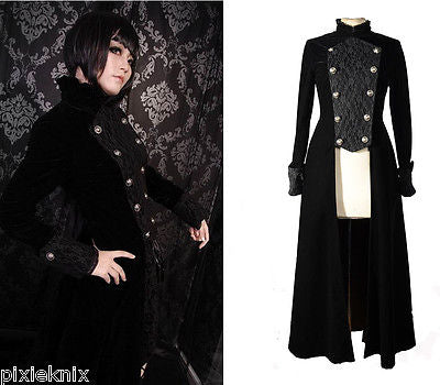Long Velvet & Lace Gothic Coat M070022