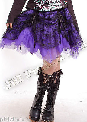 Multi Layered Lace & Mesh Skirt Purple 61160
