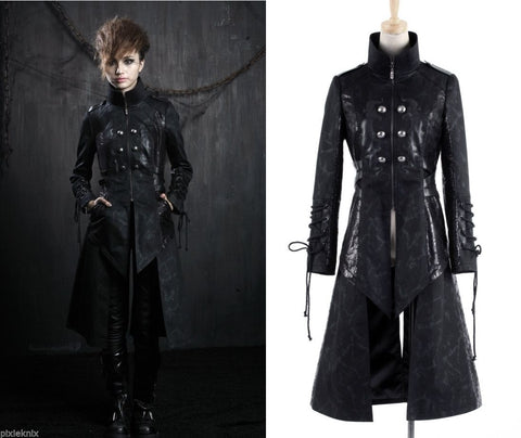 Gothic Anime Long Coat with high collar  Y-376