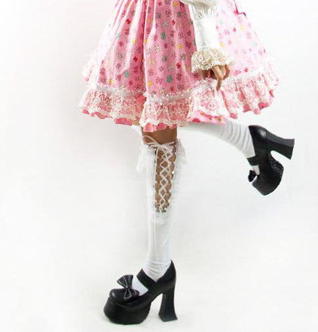 Gothic Lolita White Ribbon Lace Up Socks S-030 W